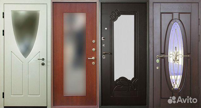 входные двери в квартиру с зеркальной вставкой