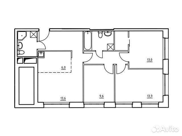 4-к квартира, 77.6 м², 14/22 эт.