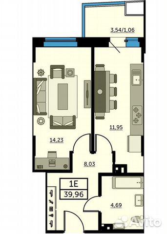 1-к квартира, 39.8 м², 10/26 эт. купить 1