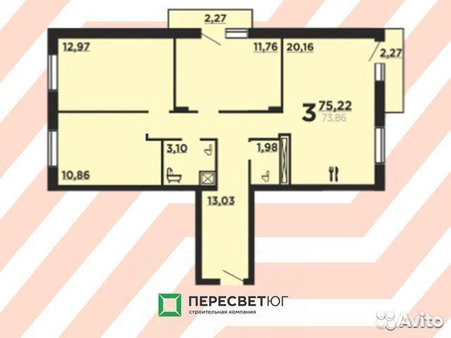 3-к квартира, 75.2 м², 10/10 эт.