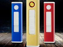 USB зажигалка со спиралью, синяя