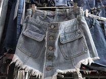 Юбка-шорты джинсовая светлая 42 +Новая футболка