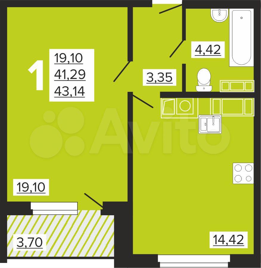 1-к квартира, 44 м², 6/10 эт.  84812703307 купить 4